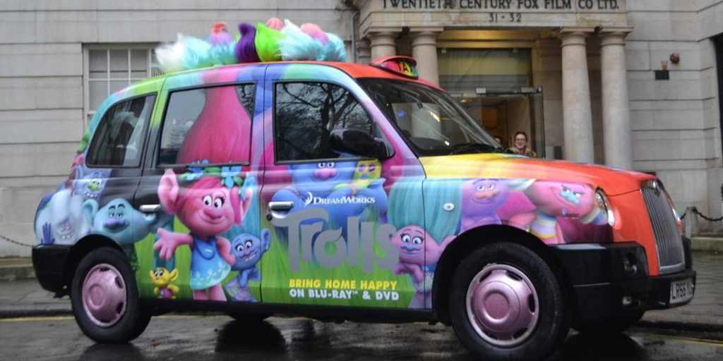 Advertise Sherbet Trolls Taxi Rainbow Cab DreamWorks Bring Home Happy Fox