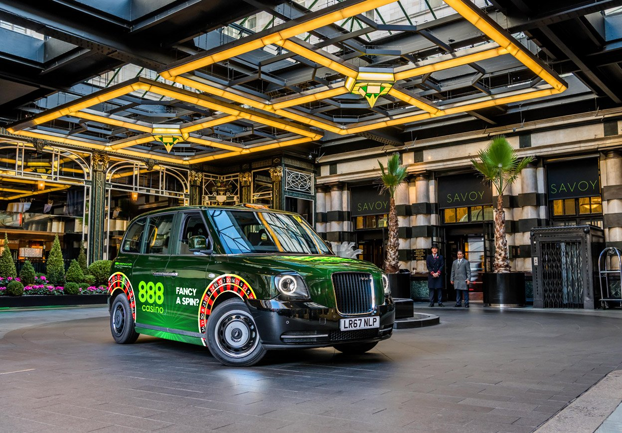 Sherbet London - Advertise 888 Casino Fancy a Spin TX5 The Electric Taxi Savoy Hotel London