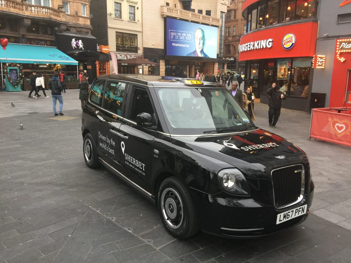 Sherbet TXE Electric Taxi – LL18 XJD on Road