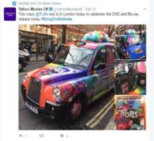 Sherbet London Taxi Campaign Social Media Post