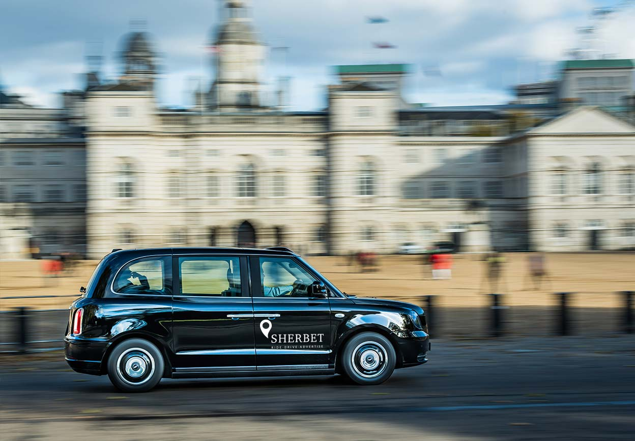Sherbet London Ride Drive Advertise TX5 The Electric Taxi London