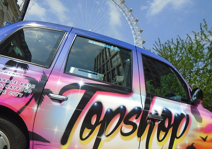 TopShop TopMan Taxi Advertising Campaign Full Livery London