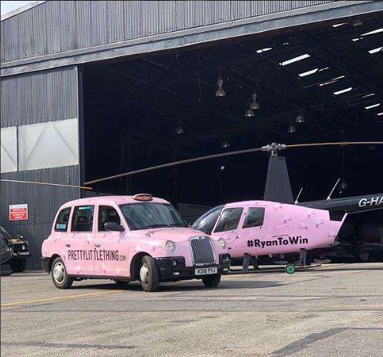 PLT Helicopter Pink Unicorn RyanToWin Umar Kamani Sherbet Media London Celebrity Big Brother 2018