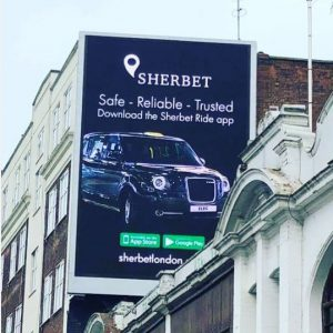 Sherbet Ride App Billboard Euston Road OOH Advertising Digital Screen
