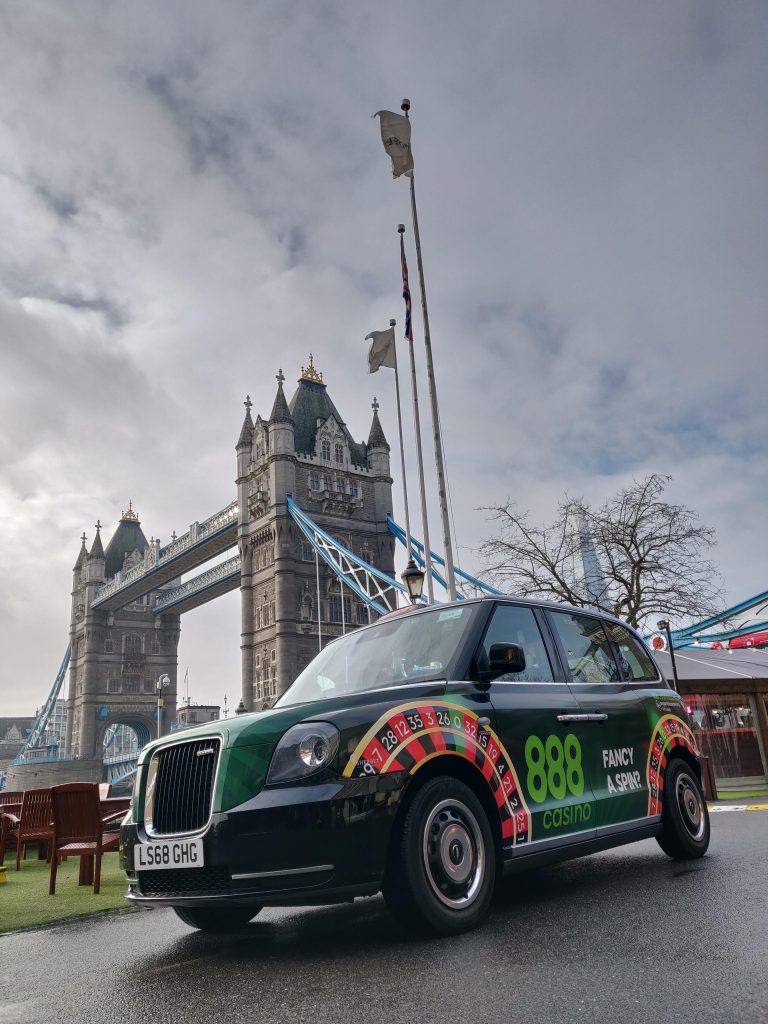 888 Casino Wheel Roulette Campaign on London's Electric Taxis