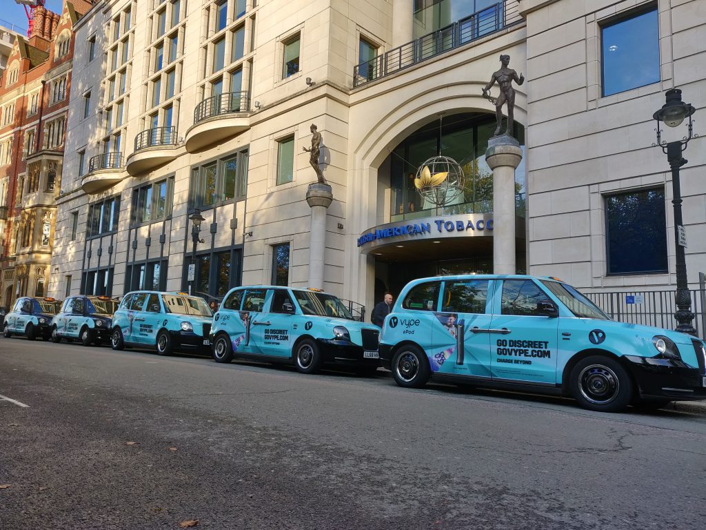 Sherbet Media Vype Taxis London Advertising British American Tabacco Embassy