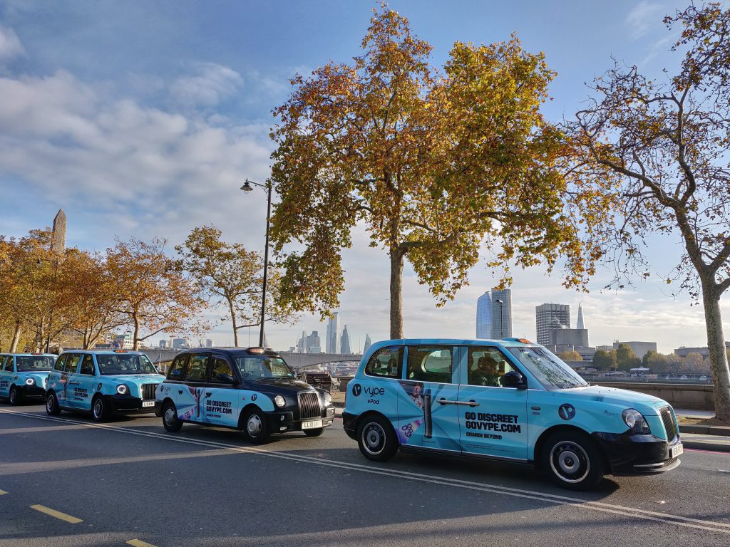Sherbet Media Vype Electric Taxis Advertising London