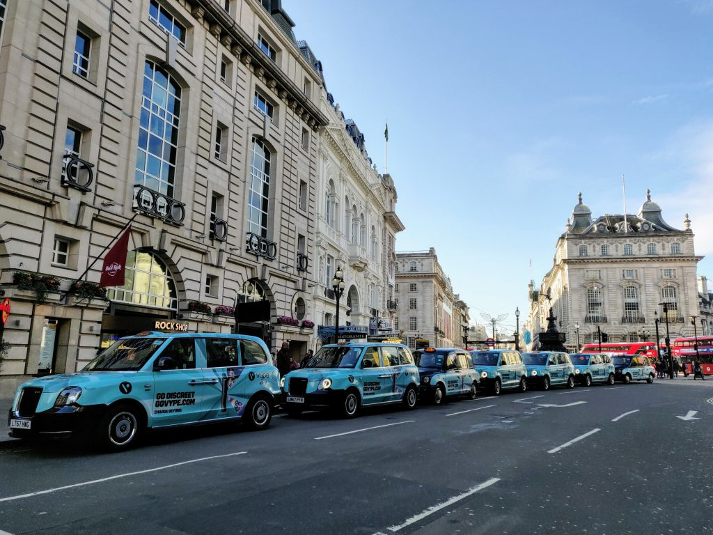Sherbet Media Vype Picadilly Circus electric taxis London
