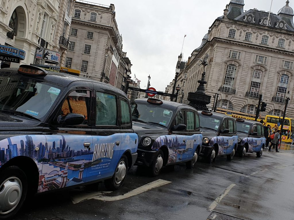 Sherbet Media Amazing Illinois Taxi Parade London Piccadilly Circus