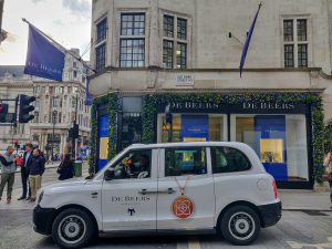 Sherbet Media De Beers electric taxi London Old Bond Street
