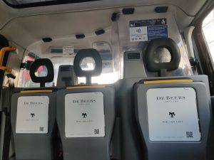 Sherbet London Media De Beers taxi tip seats
