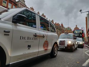 Sherbet London Media De Beers electric taxi advertising