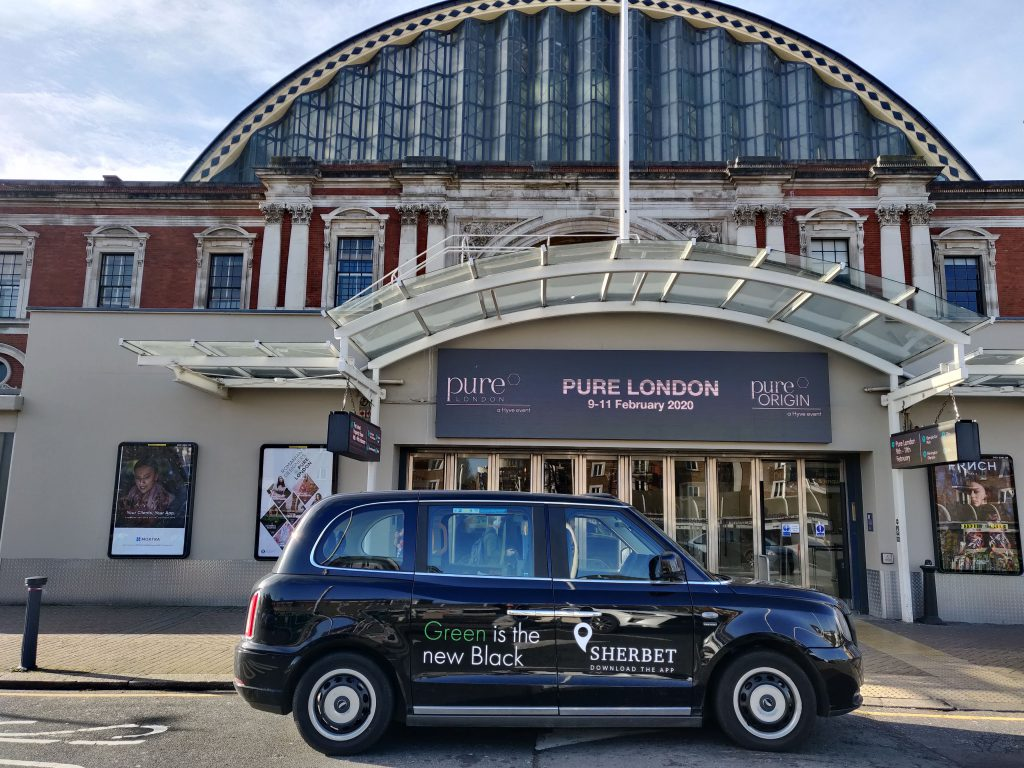 Sherbet Ride London Electric Taxi Pure Event Show Olympia