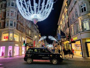 Sherbet London Christmas Lights Taxi Tour Electric Taxi