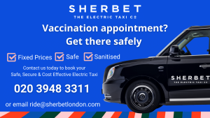 Sherbet London Electric Taxi Safe Vaccination Appointment Transport COVID19